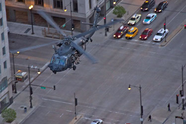Backhawk helicopters over Chicago